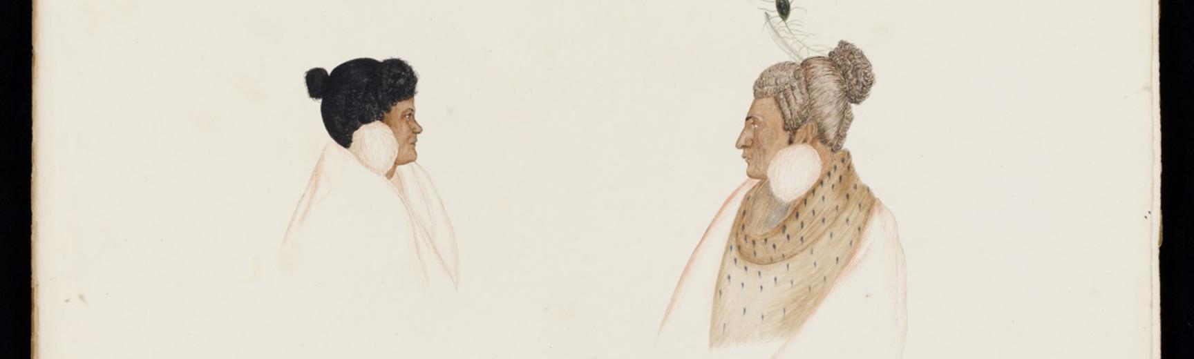 [2013.6.6] Te Ranguira and her husband Rangihaeata. By Isaac Coates, 1840s.