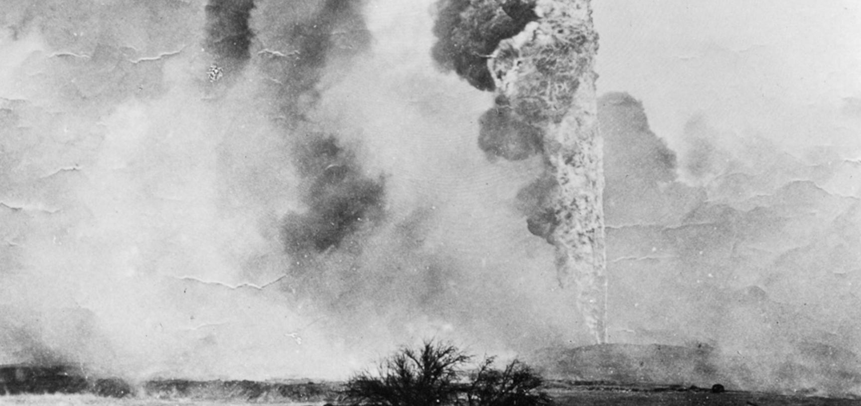 Oil spout on fire at Baku, now the capital of Azerbaijan, which was the centre of frenzied oil speculation in the 1890s.
