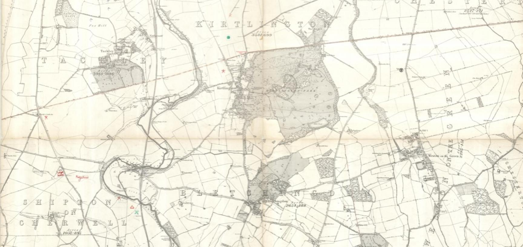 Map of Kirtlington, Oxfordshire, annotated by Percy Manning with sites of archaeological significance. (Copyright Ashmolean Museum of Art and Archaeology, University of Oxford. Reference: GB 1648 MANN/1/AP/039-040)