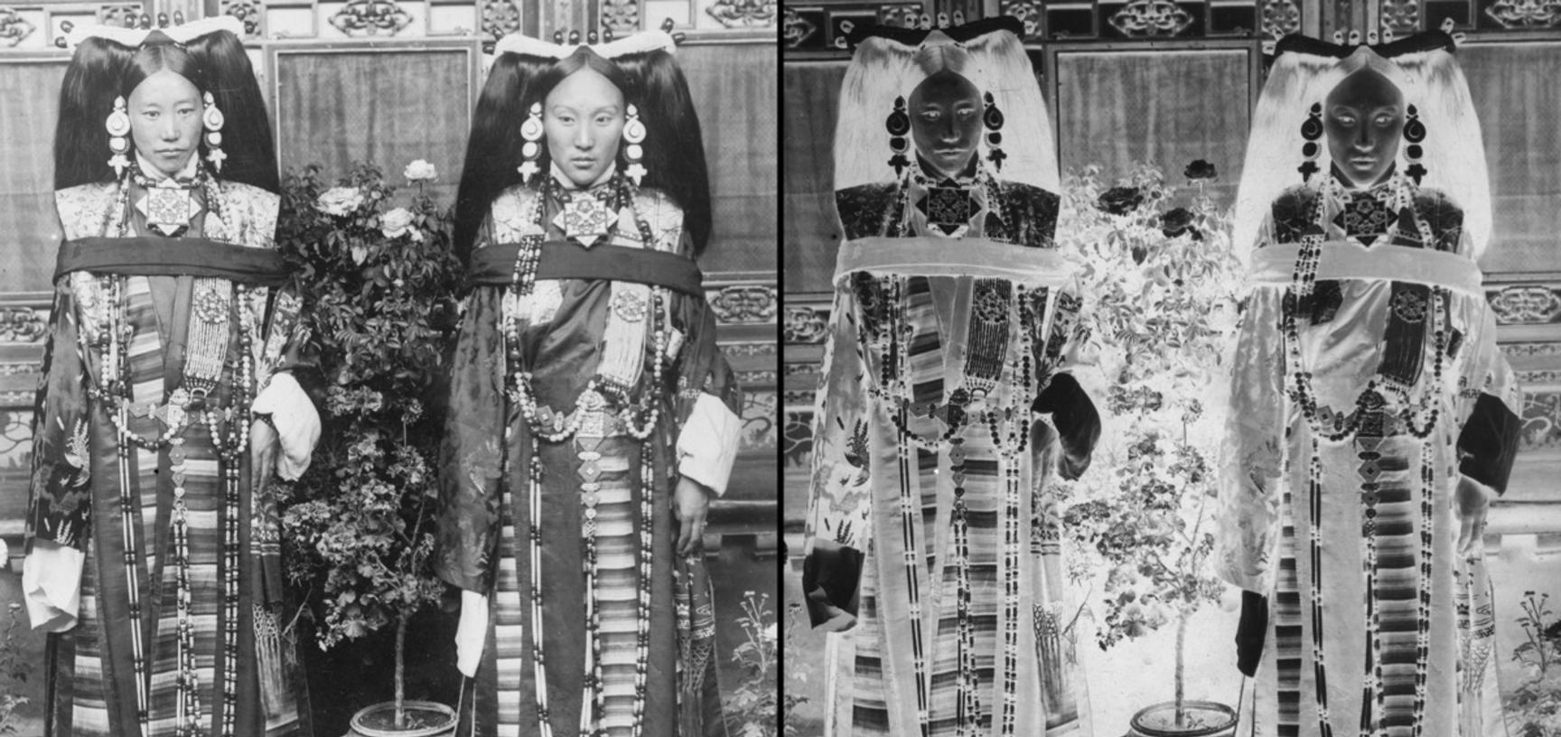 The Prime Minister Lonchen Shokang's daughter (right) and Captain Tsoko's wife. Photograph by Rabden Lepcha. 1920–1921.