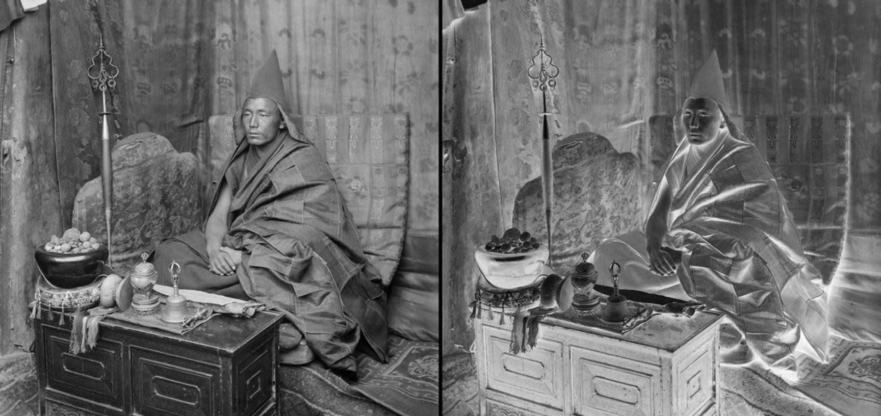 Gelukpa incarnation lama with his religious implements. Photograph by Rabden Lepcha. 1920–1921.