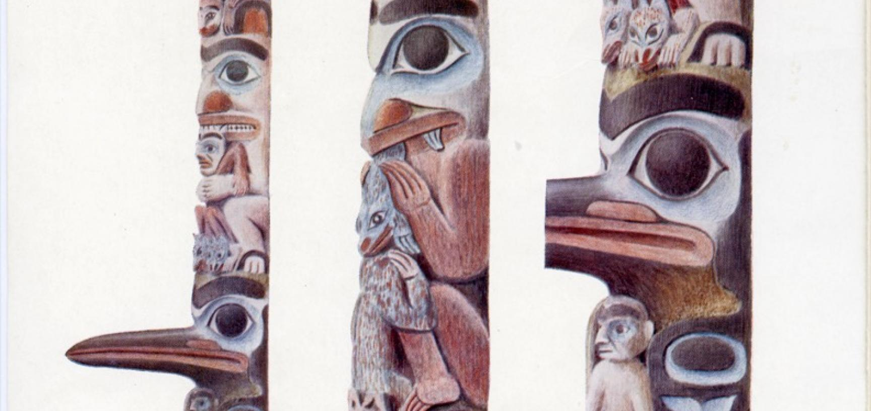 Alfred Robinson's watercolour reproduced in E. B. Tylor's article in the journal Man, 'Note on the Haida Totem-Post lately erected in the Pitt Rivers Museum at Oxford' (1902).