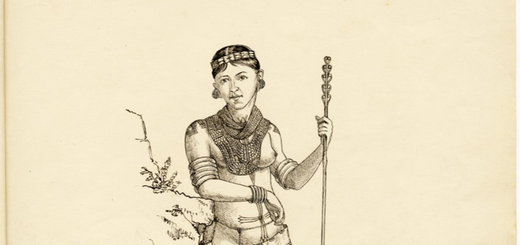 'Phemi – wife of Soibang' (handwritten caption). Ink drawing by Robert Gosset Woodthorpe. 1875.