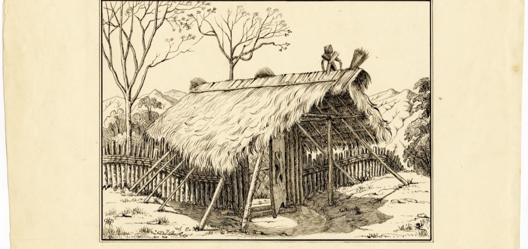 'Gateway. Dekha Haimung' (handwritten caption). Entrance gate to the Ao Naga village of Dekha Haimong, in the Naga Hills District of Assam (now in Nagaland), India. Ink drawing by Robert Gosset Woodthorpe. Dated 1875.