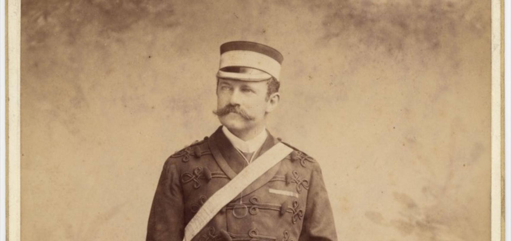 Cabinet card portrait of Colonel Robert Gosset Woodthorpe. Photograph by the P. A. Johnston and Theodore Julius Hoffmann studio. (Calcutta). Calcutta, Bengal (now in West Bengal), India. Circa 1891.