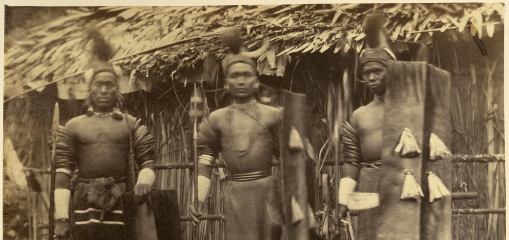 'Konyak Nagas' (handwritten caption). Photographer unknown. Naga Hills District of Assam (now in Nagaland), India. 1873–1874.