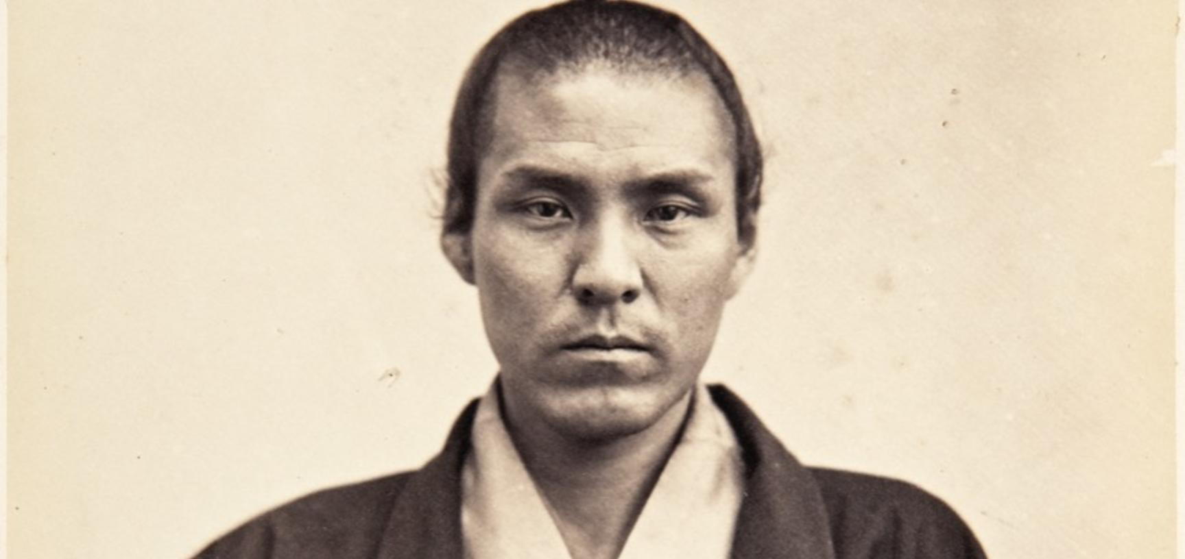 Portrait of Taichi Tanabe (1831–1915), officer and secretary on the Ikeda mission to France. An advocate of Japan opening to the West, Tanabe attended the Universal Exposition in Paris in 1867 and later travelled through America and Europe with the Iwakur