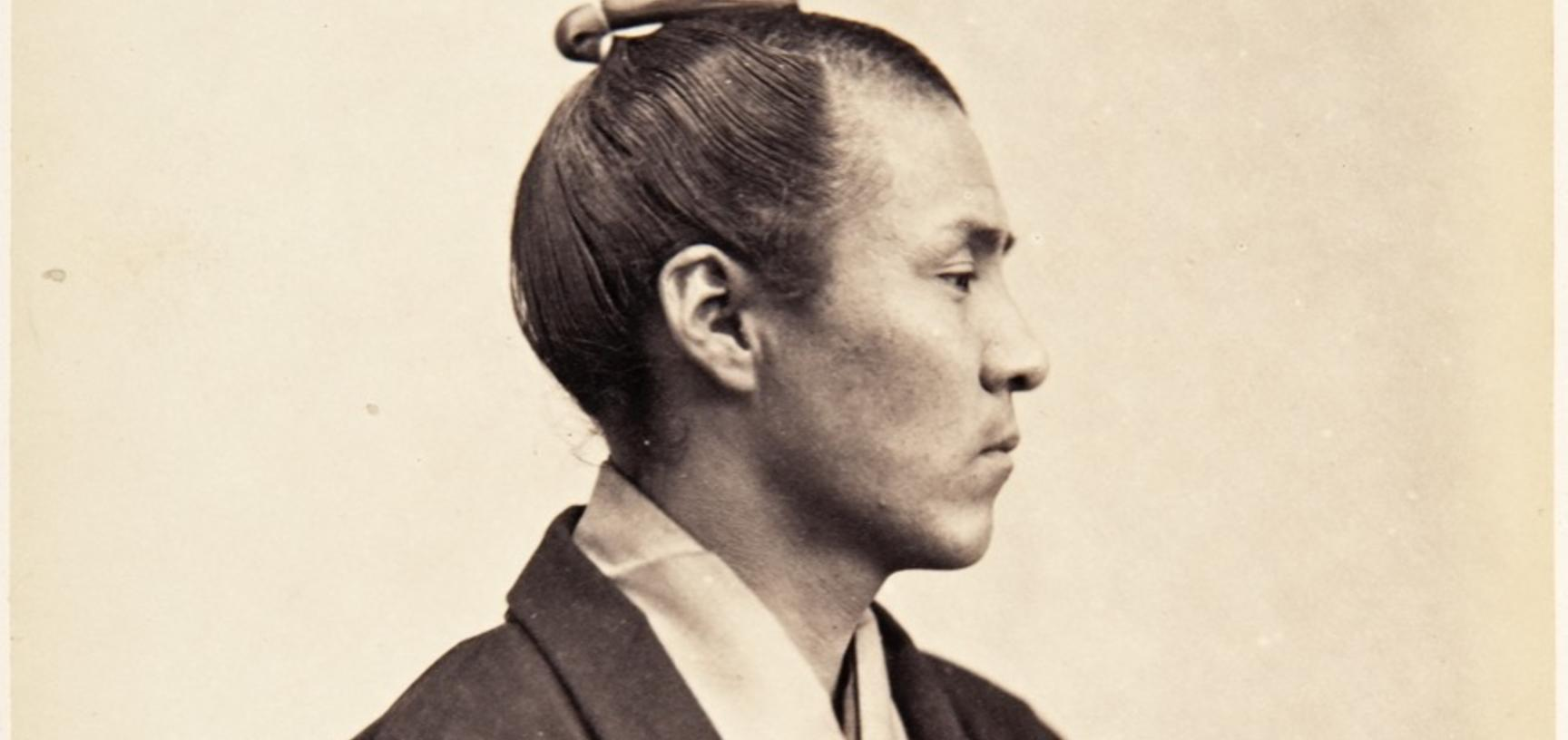 Profile portrait of Taichi Tanabe. This image reveals the photographer's training as an assistant at the Muséum d'Histoire Naturelle in Paris, posing his subjects in the ethnographic or 'scientific' style of the day. Potteau's photographs were considered