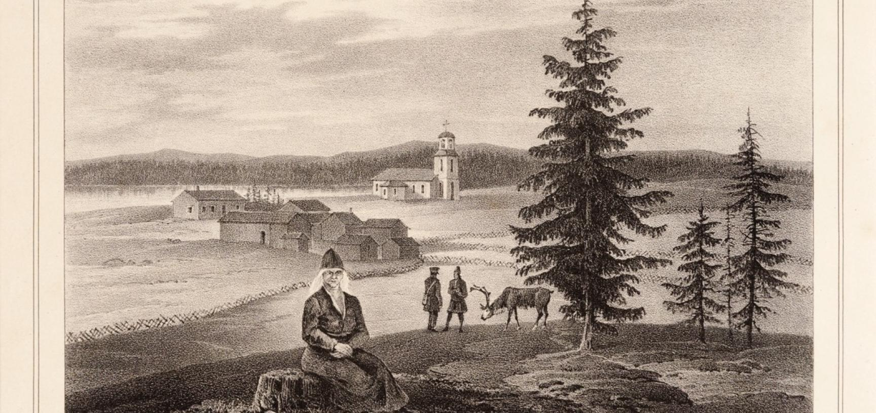 Lithograph produced in Berlin by Hermann Delius, published in 1841, showing a view of the ancient Saami settlement of Lycksele, Sweden, with its wooden church visible at the centre of the image. (Copyright Pitt Rivers Museum, University of Oxford. Accessi