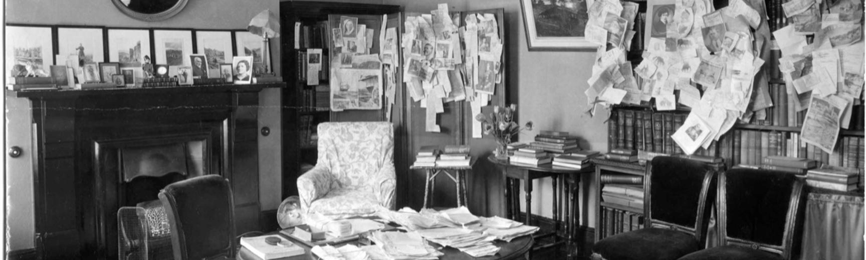 John Baddeley's study at 10 Keble Road, Oxford.  Photographer unknown. Oxford, England. Late 1930s.