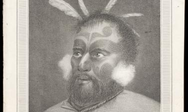 Māori chief Tuanui, engraved for publication by John-Baptiste Michel after an original drawing by William Hodges. (Copyright Pitt Rivers Museum, University of Oxford. Accession Number: 2013.28.146)
