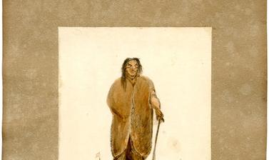 One of six portraits of inhabitants of Terra del Fuego as seen by the artist in January 1829 as the Seringapatam rounded Cape Horn.