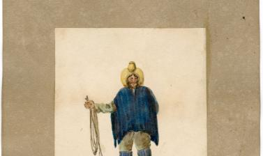 A Chilean gaucho or cowboy, dressed in characteristic hat, poncho, and leggings, and holding a lasso.