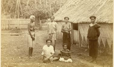 Fijian women at a native settlement near Levuka on the island of Ovalau. Photograph by Alfred Burton for the Burton Brothers studio (Dunedin). Noremba, Ovalau, Fiji. 14 July 1884.
