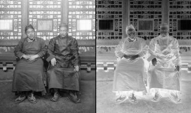 Buriat lama (right) and Tibetan Postmaster General. Photograph by Rabden Lepcha. 1920–1921.