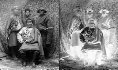 Wealthy trader from eastern Tibet (Kham) with servants. Photograph by Rabden Lepcha. 1920–1921.
