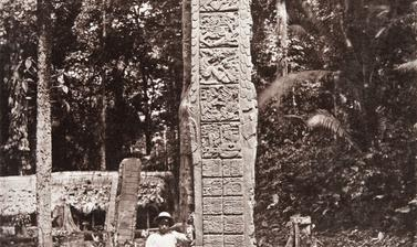 Stela D (also known as Monument 4), east side, dated AD 766. 'The inscription on each side of the Stela is headed by an initial series of six squares of picture-writing', Alfred Maudslay noted of this monument, 'the remainder of the inscription being in t