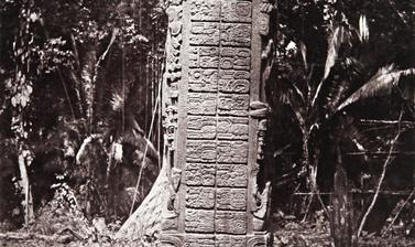 Stela F (also known as Monument 6), east side, dated AD 761. 'This is the most graceful and most elaborately decorated of all the Quirigua stelae', Alfred Maudslay wrote of Stela F. 'The graceful arrangement of the feather-work on the upper part of this m