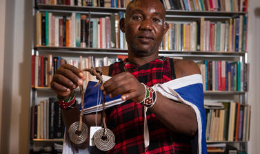 Maasai group member with ornament