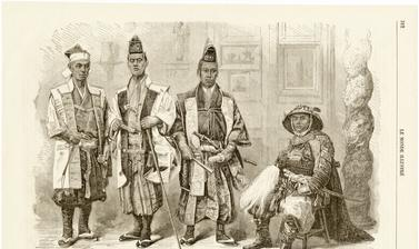 Members of the Ikeda mission to France (1864), which ultimately failed in its objective to postpone the opening of the trading port of Yokohama to the western treaty powers. This engraving, published in the illustrated press of the day, was based on two p