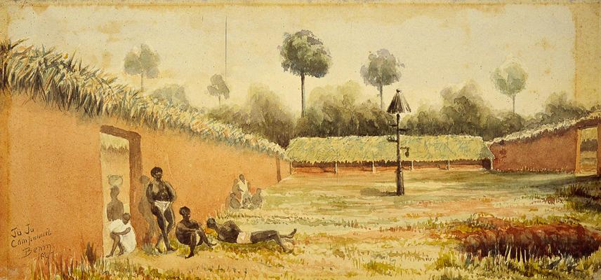 "Watercolour of Benin City ""Juju compound"" by George Le Clerc Egerton [1991.13.30]"