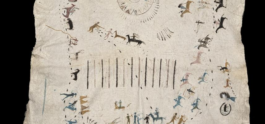 Painted cowskin showing lots of different scenes with people, tipis, bison and weapons.  There are 13 vertical lines in the centre which show this robe features the 13 battles Many Shots took part in during his lifetime.