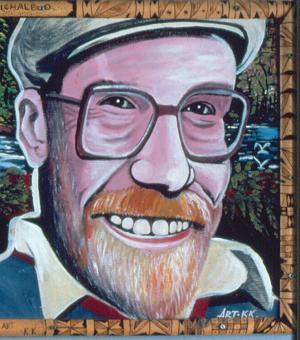 Portrait of Michael O'Hanlon by the Wahgi shield decorator and part-time signwriter Kaipel Ka